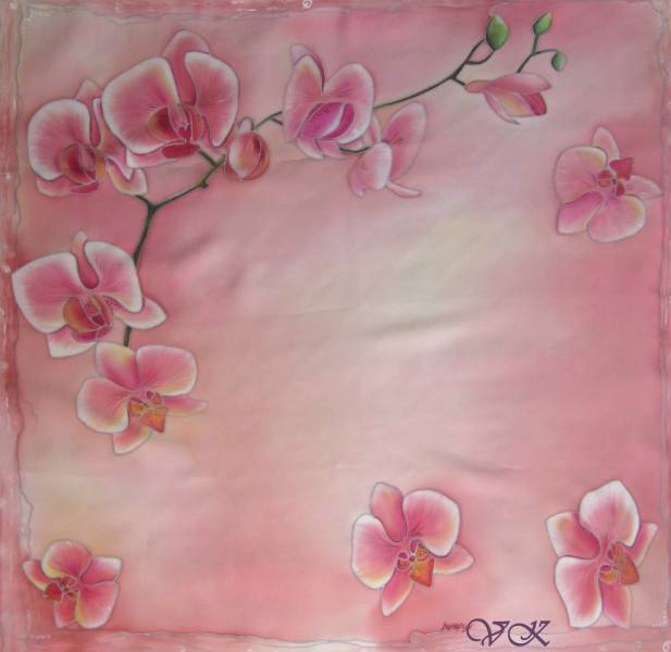 Батик платок «Нежность». Шелковый платок ручной работы.