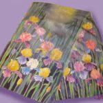 Батик шарф «Ирисы под дождём». Шелковый шарф ручной работы.