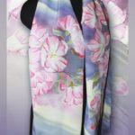 Батик шарф «Очарование весны». Шелковый шарф ручной работы.