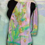 Батик шарф «Сон одуванчика». Шелковый шарф ручной работы.