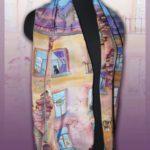 Батик шарф «Окна напротив». Шелковый шарф ручной работы.