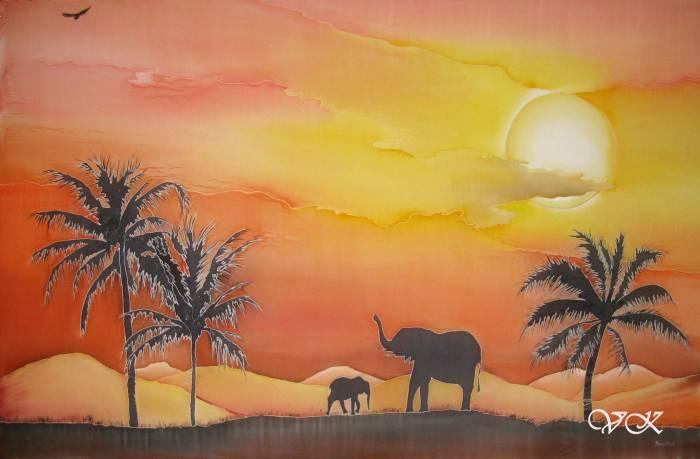 Батик парео «Африка». Шелковое парео с ручной росписью.