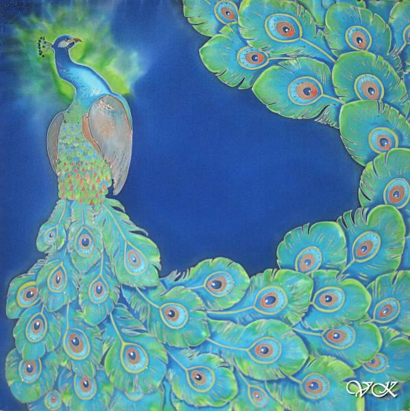Батик платок «Павлин» синий. Шелковый платок ручной работы.