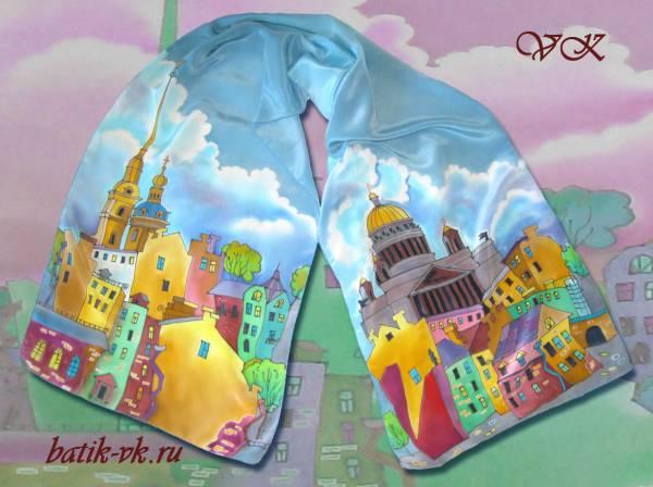 Батик шарф «Шелковый город». Шелковый шарф ручной работы.