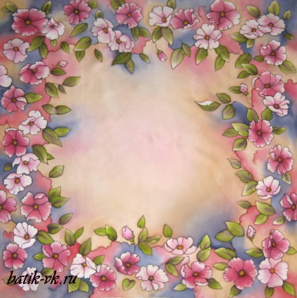 Батик платок «Шиповник-дикая роза». Шелковый платок ручной работы.