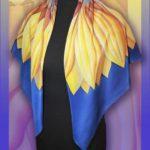 Батик платок «Готика» (подсолнух). Шелковый платок ручной работы.