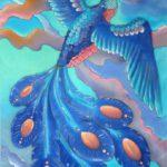 Батик шарф «Синяя птица». Шелковый шарф ручной работы.