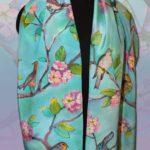 Батик шарф «Птичка». Шелковый шарф ручной работы.