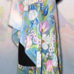 Батик шарф «Вивальди». Шелковый шарф ручной работы.