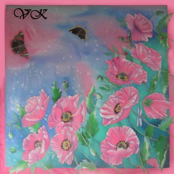 Батик платок «Розовые маки». Шелковый платок ручной работы.