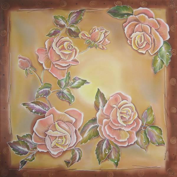 Батик платок «Чайная роза». Шелковый платок ручной работы.