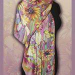 Батик шарф «Румянец утра». Шелковый шарф ручной работы.