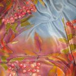 Батик платок «Рябина». Шелковый платок ручной работы.