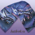Батик шарф «Север». Шелковый шарф ручной работы.