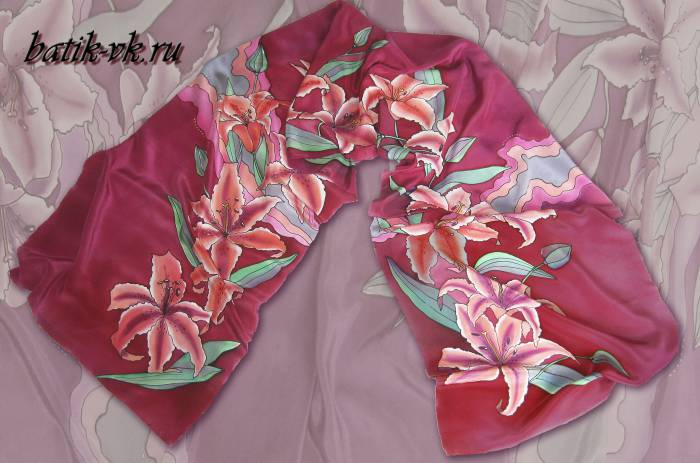 Батик шарф «Бордо». Шелковый шарф ручной работы.