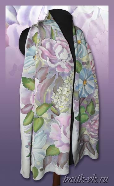 Батик шарф «Шёлковая нежность». Шелковый шарф ручной работы.