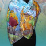 Батик платок «Шелковый город». Шелковый платок ручной работы.