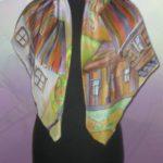 Батик платок «Светлая Русь». Шелковый платок ручной работы.