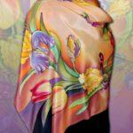 Батик платок «Вальс цветов». Шелковый платок ручной работы.