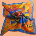 Батик платок «Оранжевое настроение». Шелковый платок ручной работы.