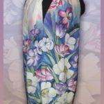 Батик шарф «Весенний букет». Шелковый шарф ручной работы.