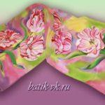 Батик шарф «Весенний». Шелковый шарф ручной работы.