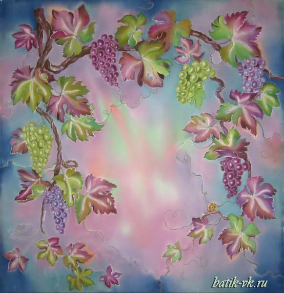 Батик платок «Виноград». Шелковый платок ручной работы.
