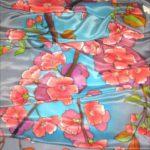 Батик шарф «Вишневый сад». Шелковый шарф ручной работы.