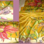 Батик шарф «Янтарный». Шелковый шарф ручной работы.