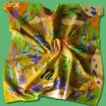 Батик платок «Янтарный». Шелковый платок ручной работы.