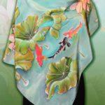 Батик платок «Рыбки». Шелковый платок ручной работы.