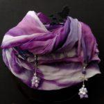 Батик шарф-колье «Стрекоза». Шелковый шарф ручной работы.