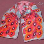 Батик шарф «Феникс». Шелковый шарф ручной работы.
