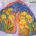 Батик шарф «Желтые ирисы». Шелковый шарф ручной работы.
