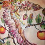 """Батик платок """"Жар-птица и молодильные яблоки"""". Шелковый платок ручной работы."""