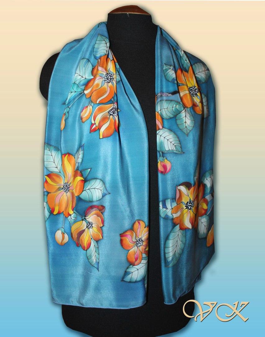 """Батик шарф """"Огненный цветок"""". Шелковый шарф ручной работы."""