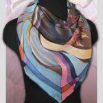 Батик платок «Конь пустыни». Шелковый платок ручной работы.