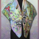 """Батик платок """"Найди енота"""". Шелковый платок ручной работы."""