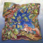 Батик платок «Сказки старого леса». Шелковый платок ручной работы.