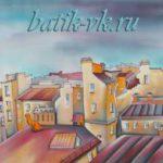 """Батик палантин """"Белые ночи над С-Петербургом"""". Шелковый палантин ручной работы."""