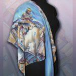 """Батик платок """"Белые ночи над С-Петербургом"""". Шелковый платок ручной работы."""