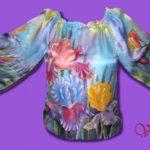 """Батик блузка """"Ирисы"""". Шелковая блузка с ручной росписью."""