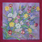 Батик платок «Букет для любимой». Шелковый платок ручной работы.