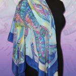 Батик платок «Чудо рыба». Шелковый платок ручной работы.