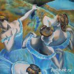 Батик платок «Э. Дега «Голубые танцовщицы». Шелковый платок ручной работы.