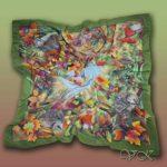 Батик платок «Ёжики и осень». Шелковый платок ручной работы.