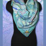 Батик платок «Гиппокамп». Шелковый платок ручной работы.