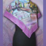 Батик платок «Сны грифонов». Шелковый платок ручной работы.