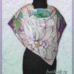"""Батик платок """"Грезы любви"""". Шелковый платок ручной работы."""