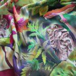 Батик платок «Совиные истории». Шелковый платок ручной работы.